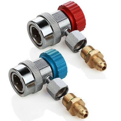 """Deluxe Adjustable AC R134a Quick Couplers/Connectors/Adapters 1/4"""" SAE HVAC Tool"""