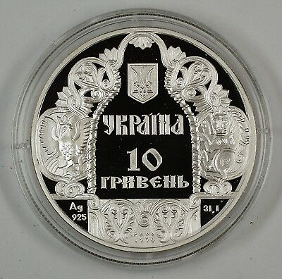 1998 Ukraine Sterling Silver Proof 10 Hryven Coin in Box No COA