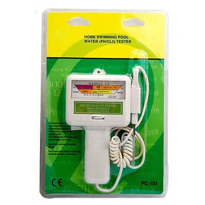 PC-101 Home Swimming Pool Spa Water PH CL2 Chlorine White Electronic Tester Tool
