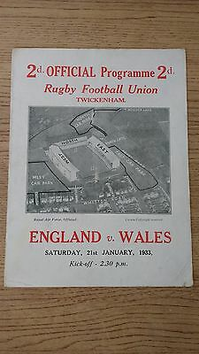 England v Wales 1933 Rugby Programme