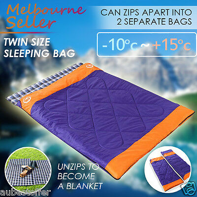 Twin Couple Zip Together Outdoor Camping Waterproof  Sleeping Bag Hiking Winter