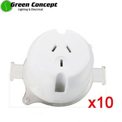 NEW 10 x Single Plug Base Surface Socket 10Amp White Outlet 5 YEAR WARRANTY