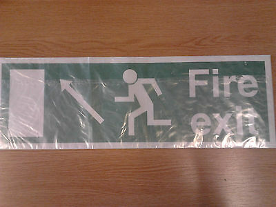 Fire Exit vinyl sticker sign green white running man arrow pointing up left NEW