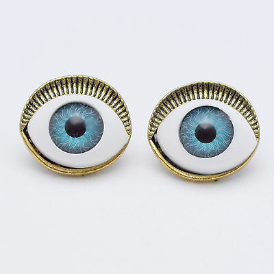 Vintage Bronze Pair Blue Eyes Goth Punk Stud Earrings