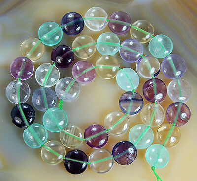 """Natural 10x10mm Colorful Fluorite Coins Shape Gemstone Beads 15"""""""