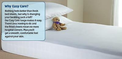 Easy Care Double Fitted Sheets & Pillow Cases  Cream Or  White
