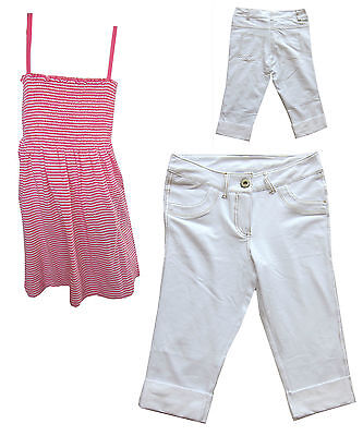 Girls Smock Cerise Top And 3/4 White Turn Up Jeans Set 10-11, 12-13, 14-15 Years