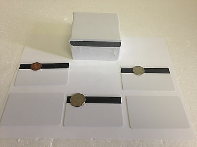 100 x White CR80 PVC Credit Card HiCo Magnetic Stripe .30 mil for ID Printers