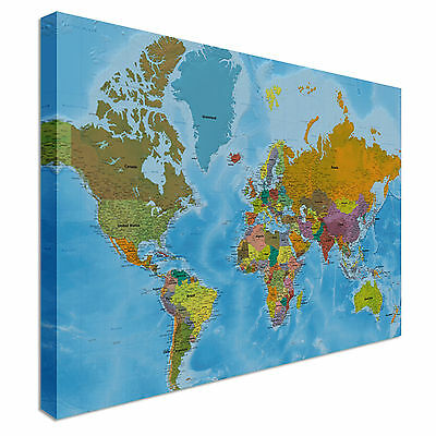 Detailed World Map, Full Colour, Countries Wall Art Canvas Print Picture