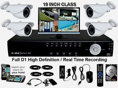 4 CH 4 Channel CCTV DVR Security Camera System LCD Monitor Sony CCD WeatherProof