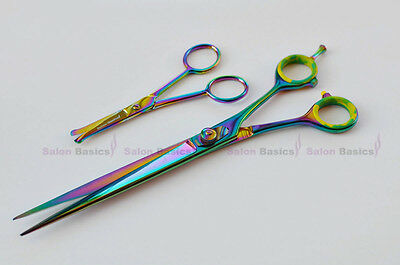 Set of 2 Pcs Top Quality Long Pet Grooming Hair  &  Ball Tip Scissors Nail Care