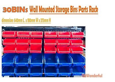30 Bin Wall Mounted Storage Bins Parts Rack to Organize nuts bolts small parts