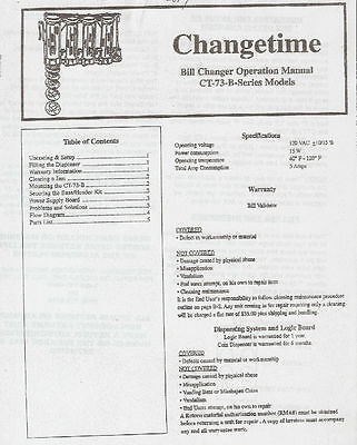 Change Time (ChangeTime) Bill Changer Operation Manual Model CT-73-B Drink Snack