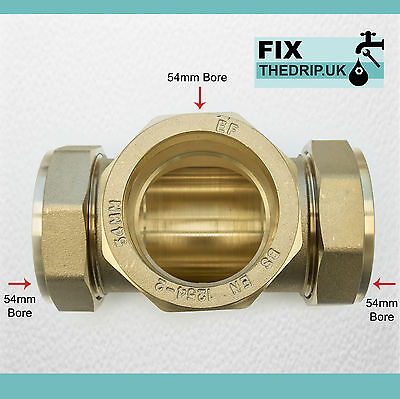 TRADE PACK 2 x FtD 54mm BRASS Equal Compression Tee fitting