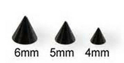 4 (Four) 14 Ga Black Anodized Threaded Replacement  Cones / Spikes 4Mm  Or 5Mm