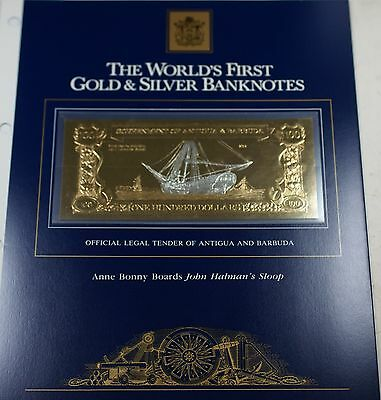 1981 Antigua/Barbuda $100 Gold/Silver Note-Anne Bonny Boards John Halman's Sloop