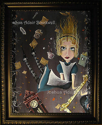 Alice in Wonderland Hand Painted Framed Canvas Fantasy Painting By J A Blackwell