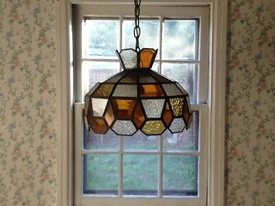 13.5'' Multi-Color Vintage Leaded Stained Glass Tiffany Style Chandelier