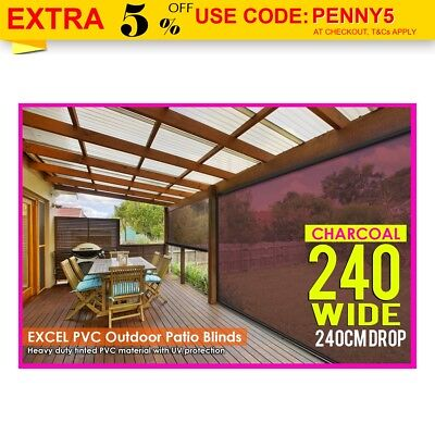 Charcoal 240CM X 240CM HEAVY DUTY PVC Tinted PATIO CAFE BLIND Outdoor UV Awning