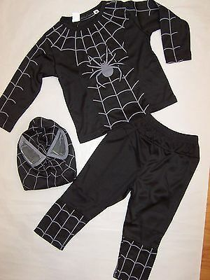Bnwt Boys Black Spiderman  Costumes With Mask Size 1 To 8