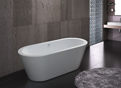 "71"" Modern White Color Free Standing Acrylic Soaking Bathtub w/ Faucet"