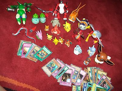Lot of Pokemon Digimon 24 Action Figures & 50 Trading Cards