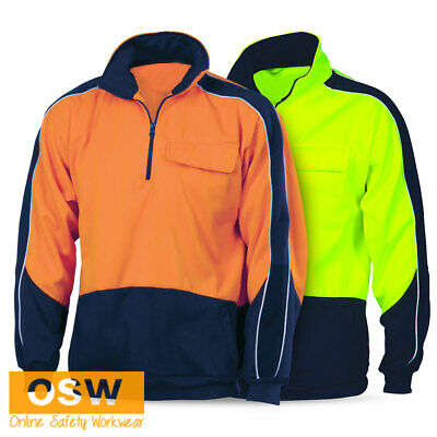 Hi Vis Yellow Orange Winter Stylish Half Zip Windcheater Fleece Jumper Jacket
