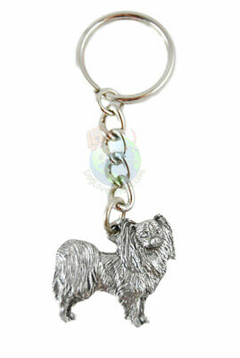 Papillon Dog Fine Pewter Silver Keychain Key Chain Ring