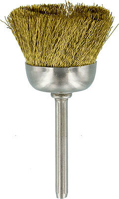 Brush - 1in. Cup Shape, Brass Wire Mounted, 1/8in. Shank