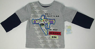 New Disney Toy Story Buzz Lightyear at your service boys t-shirt long sleeve