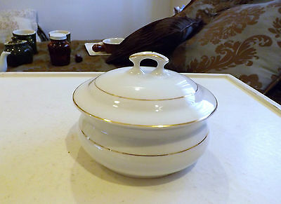 Edwin M. Knowles China WhiteSmall Covered Dish with Gold Accent