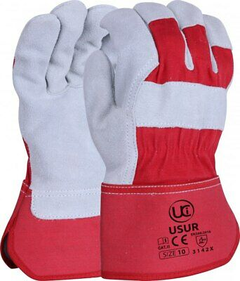Canadian Leather Rigger Work Gloves Heavy Duty - Red / Grey