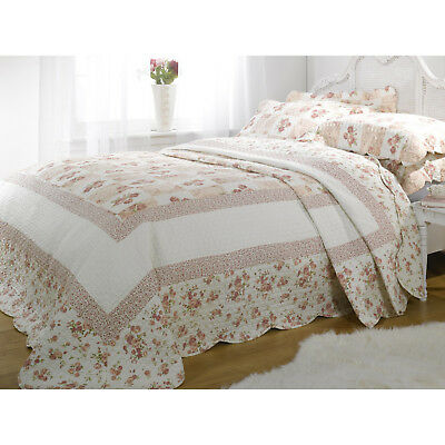 King Size Pink Floral Patchwork Quilted Bedspread Throw + 2 Pillow Shams