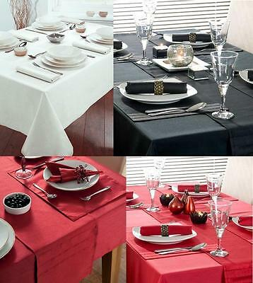 White Black Red Pure Cotton Drill Table Cloth Cover / Napkins - Premium Quality