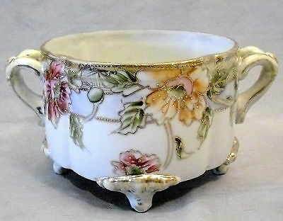 ANTIQUE NIPPON FOOTED FERNER / JARDINIERE HAND PAINTED FLORALS JEWEL BEADED GOLD