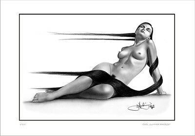 Nude  Female  Study   Drawing    Cool  Summer Breeze            Limited Edition