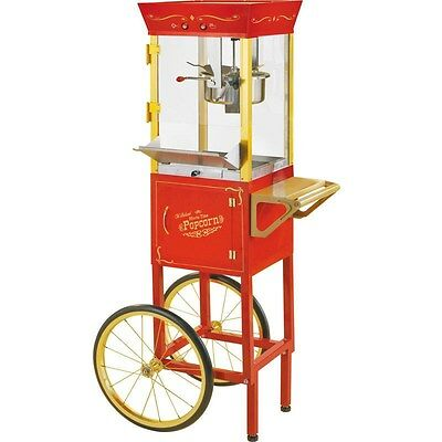 "Vintage 53"" Popcorn Machine Cart & Stand, Red Theater Concession Pop Corn Maker"