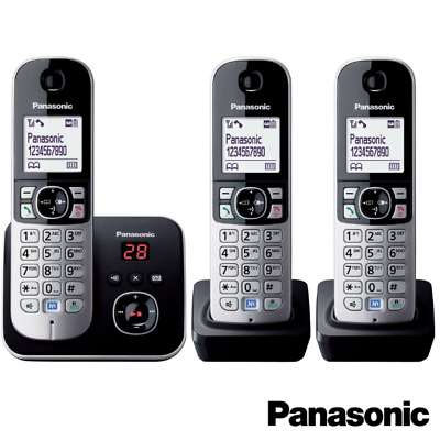 Panasonic Kx-Tg6823Eb Trio Dect Cordless Telephone Set With Answer Machine- Blk