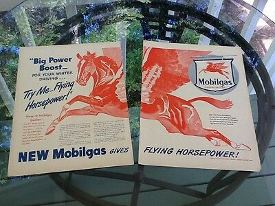 "1943 MOBIL Mobilgas Ad Two Pages 10.5"" X 13.5"" Each Page"