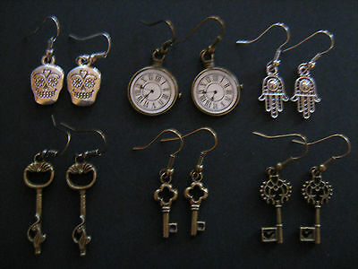 Silver Plated & Antique Bronze Earrings Various Designs Skulls/Goth/Steampunk