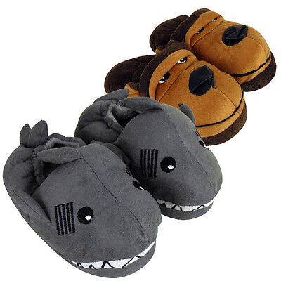 boys girls slumberz animal novelty slippers size 9-3 ankle boot kids tom franks
