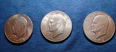 3 EISENHOWER -Ike - SILVER DOLLAR COINS-VARIOUS- LOT of 3 Coins