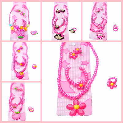 5 PCS Cartoon SET Pearl Necklace Bracelet Ring Hair Clips Baby Girl's Party Gift