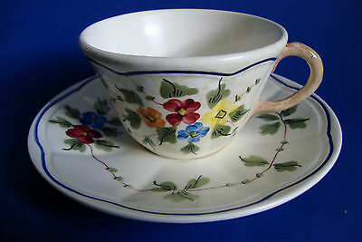Limoges LC Longchamp *Nemours* Pattern Tea Cup & Saucer Set Hand Painted France