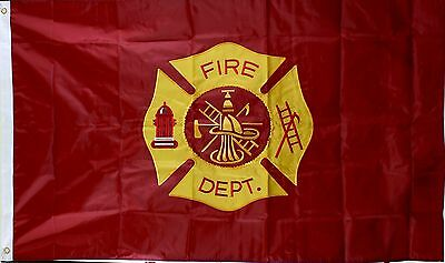 Fire Department Flag 3'x5' Double Sided, Embroidered