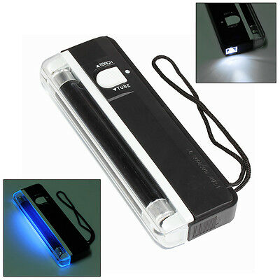 Currency Money Detector Portable Handheld UV Led Light Torch Lamp Counterfeit