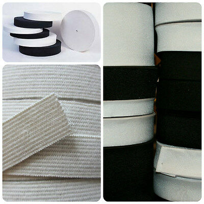 White and Black Flat 25mm Wide Elastic All Lengths