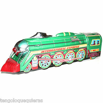 battery Locomotive Tin Toy international express tren locomotora de hojalata
