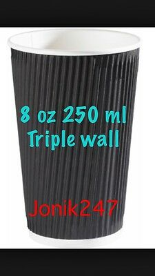 500 Triple Ripple wall paper coffee cups , disposable coffee cups  8OZ Black