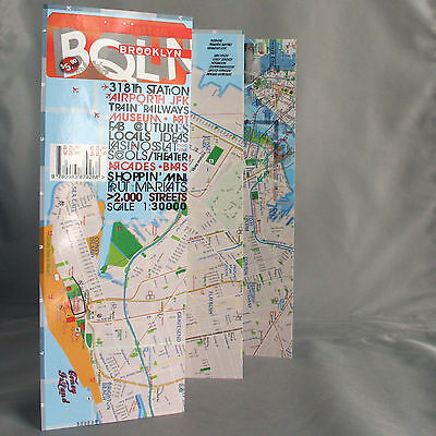 Map Laminated Brooklyn Manhattan Downtown New York NY - full streets